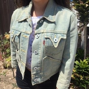 Levi's distressed western denim jacket